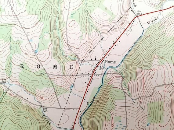 Topographic Map Of Rome.Antique Rome Pennsylvania 1967 Us Geological Survey Topographic Map