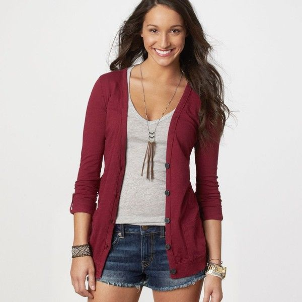 AE Lightweight Boyfriend Cardigan (80 BRL) ❤ liked on Polyvore ...