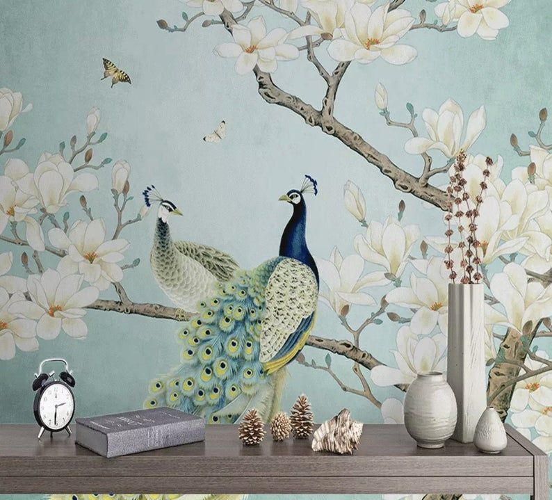 Peel And Stick Self Adhesive Tropical Wallpaper Removable Etsy Peacock Wallpaper Chinoiserie Wallpaper Magnolia Wallpaper