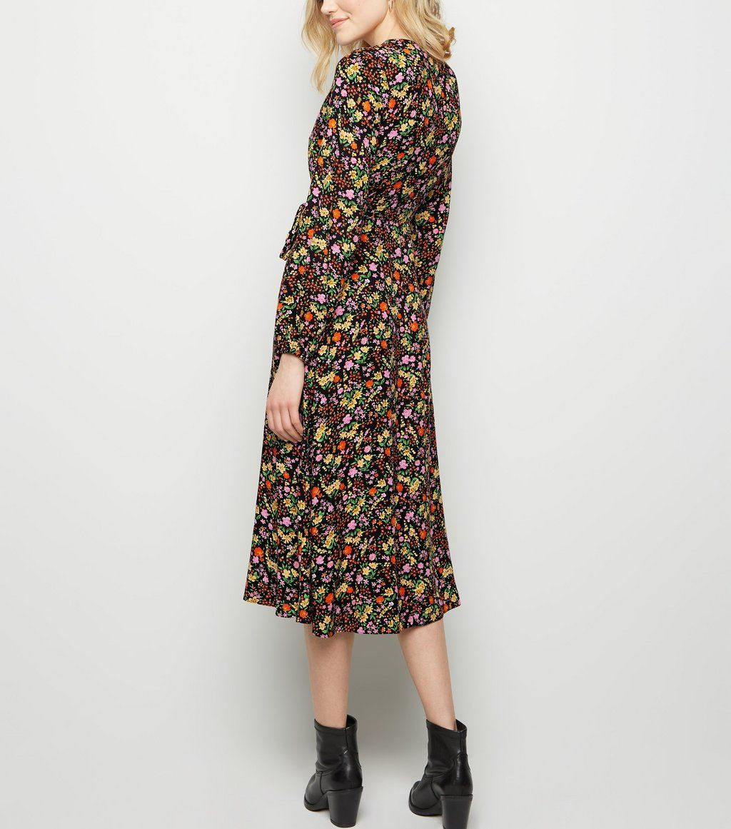 d654d94e9ab Black Ditsy Floral Midi Wrap Dress in 2019