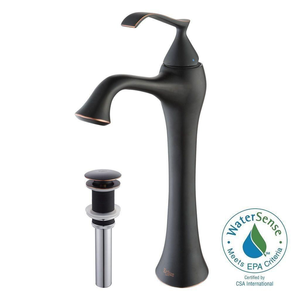 Ventus Single-Lever Vessel Bathroom Faucet with Pop-Up Drain in Oil ...
