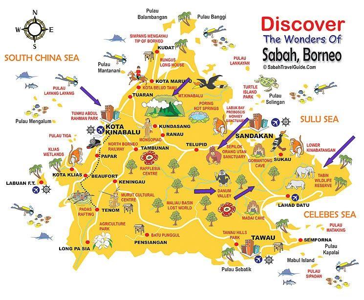 Borneo Map Blue Arrows Are Places We Went Travel Borneo Sabah