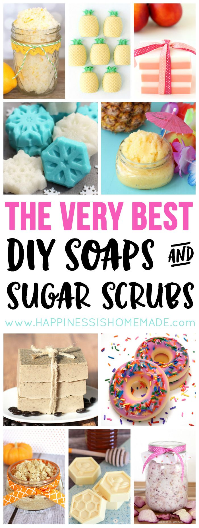 These quick, easy, and inexpensive DIY soaps and sugar scrub recipes are the best! They make fantastic homemade gift ideas - perfect for the holidays!                                                                                                                                                                                 More