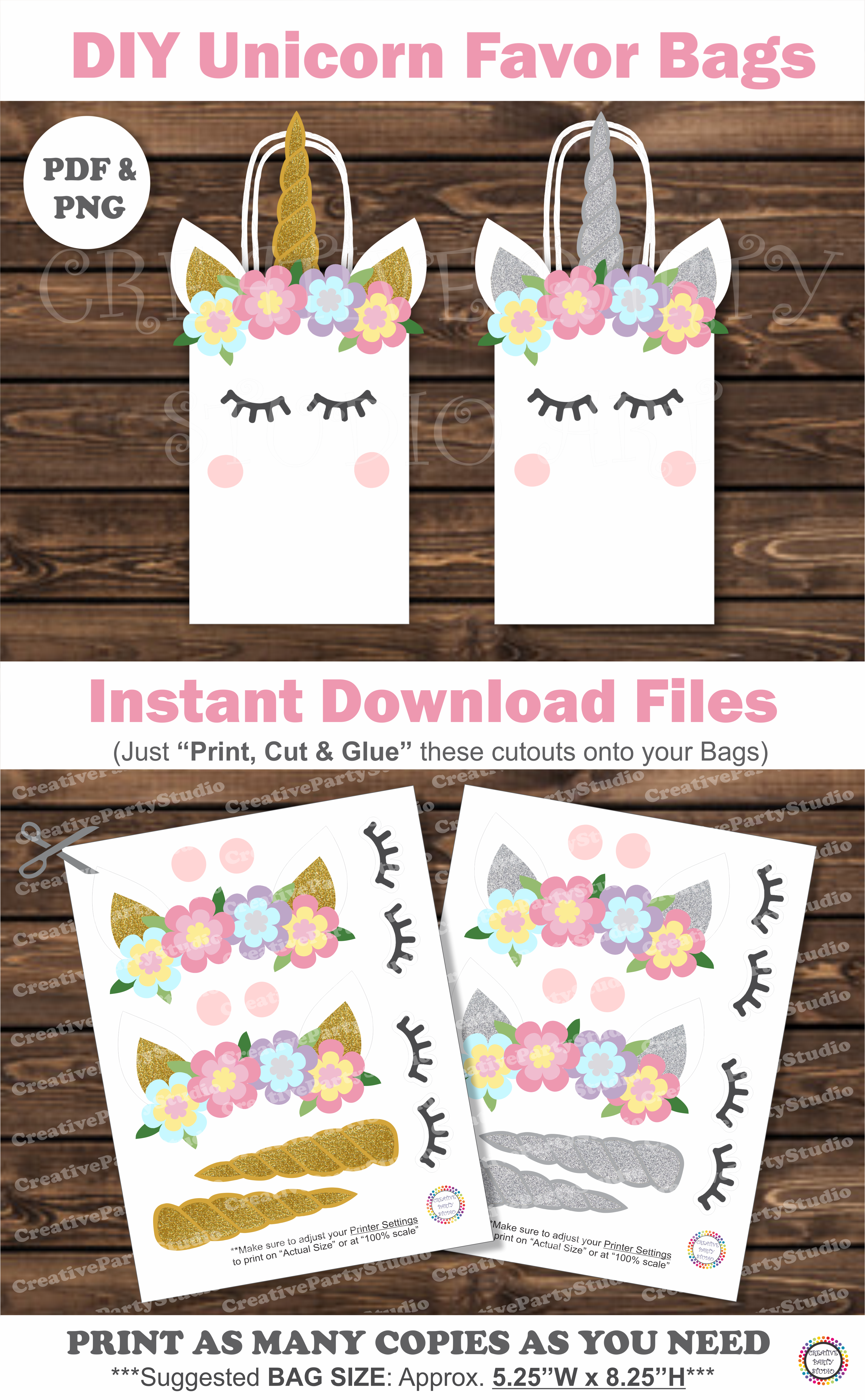 DIY Unicorn Party Printable Decorations Favor Bags Boxes Printables For Birthday