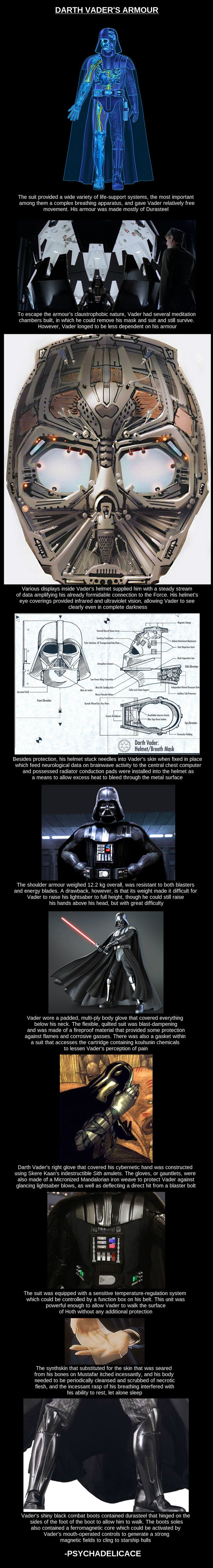 """Darth Vader's Armor.  Fun fact: Vader's boots actually pre-date his helmet - Lucas created a breath mask for his villain as he was originally walking on the outside of Leia's ship to enter it. The whole """"more machine than man"""" idea evolved out of that concept."""