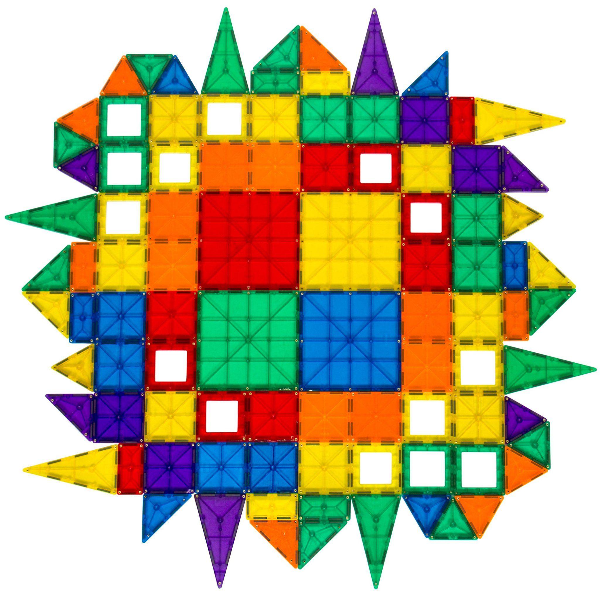 100 Piece Kids Clear Rainbow Magnetic Building Block Tiles Toy Set Multi Magnetic Tiles Geometric Tiles Magnetic Building Tiles