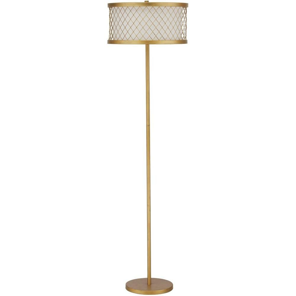 Safavieh Evie Mesh 58 25 In Antique Gold Floor Lamp With White Shade Lit4199a Gold Floor Lamp Stylish Floor Lamp Floor Lamp