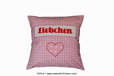 Kissen Liebchen Herz rosa bei www.waescheliese.com