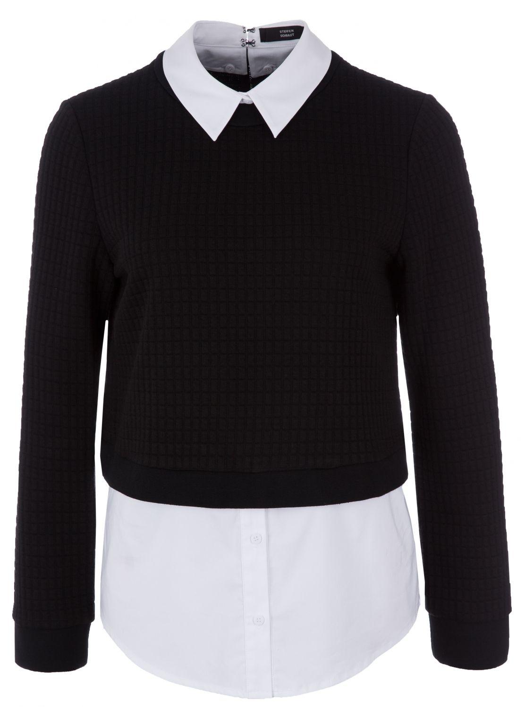 steffen schraut damen pullover mit bluseneinsatz schwarz bei sailerstyle mode pinterest. Black Bedroom Furniture Sets. Home Design Ideas