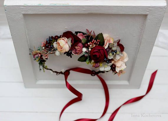 80f4dce80685 Burgundy beige flower crown Bridal hair wreath Woodland Wedding headpiece  Flower girl Bridesmaid cro