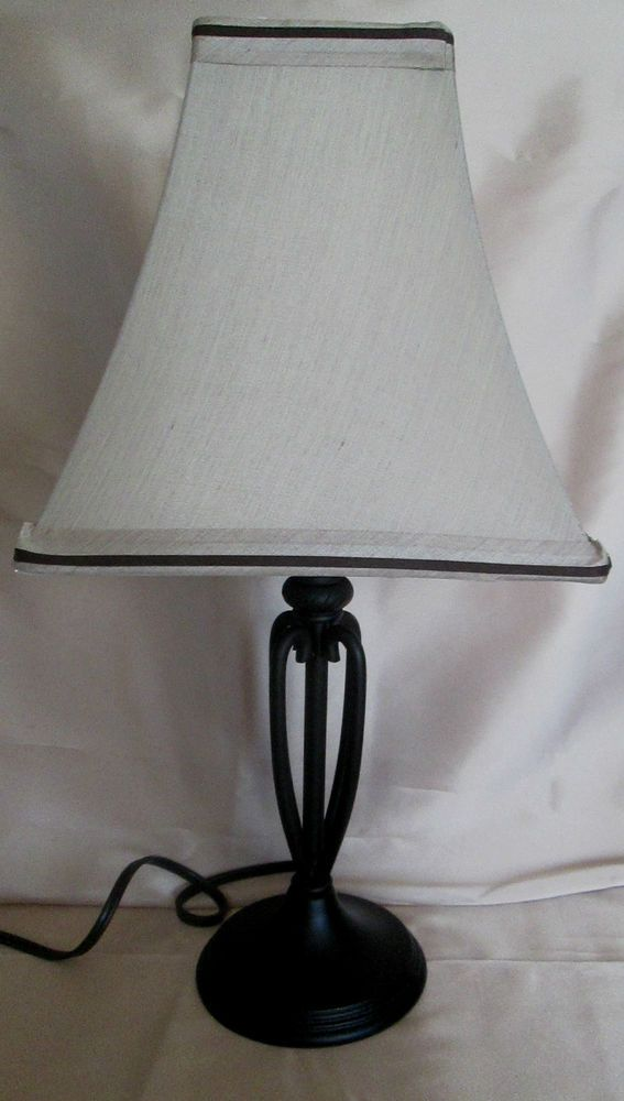 Wood and wrought iron table lamp with raw silk like lamp shade wood and wrought iron table lamp with raw silk like lamp shade model aloadofball Images
