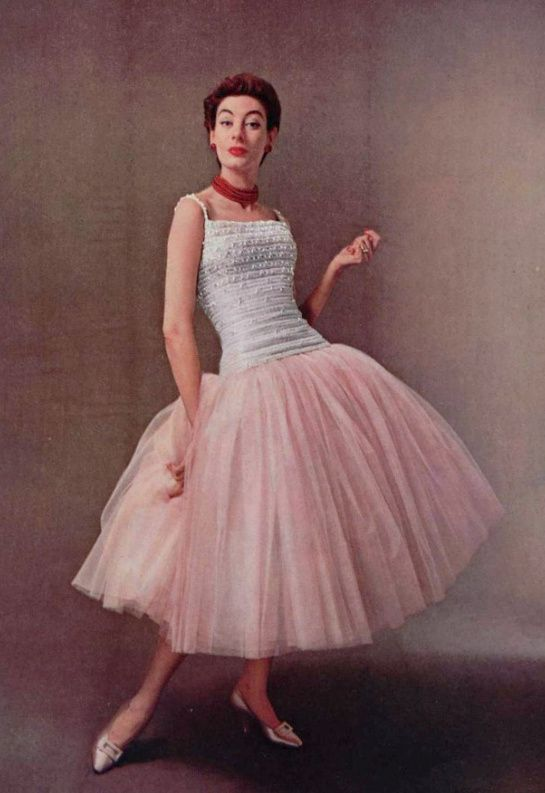 1954 Christian Dior Vintage Designer Couture Pink Cocktail