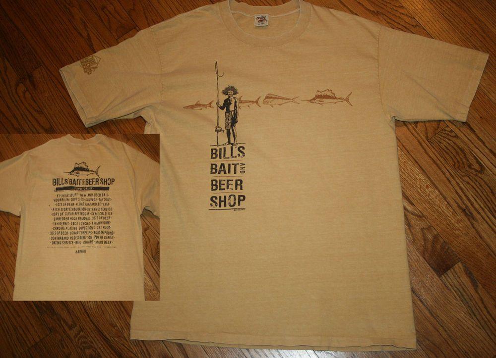 Crazy Shirts BILL'S BAIT AND BEER SHOP Hawaii swordfish T-Shirt Men's Large  RARE #