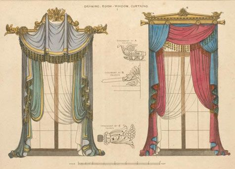 Drawing Room Window Curtains, 1826, From The New York Public Libraryu0027s  Digital Gallery
