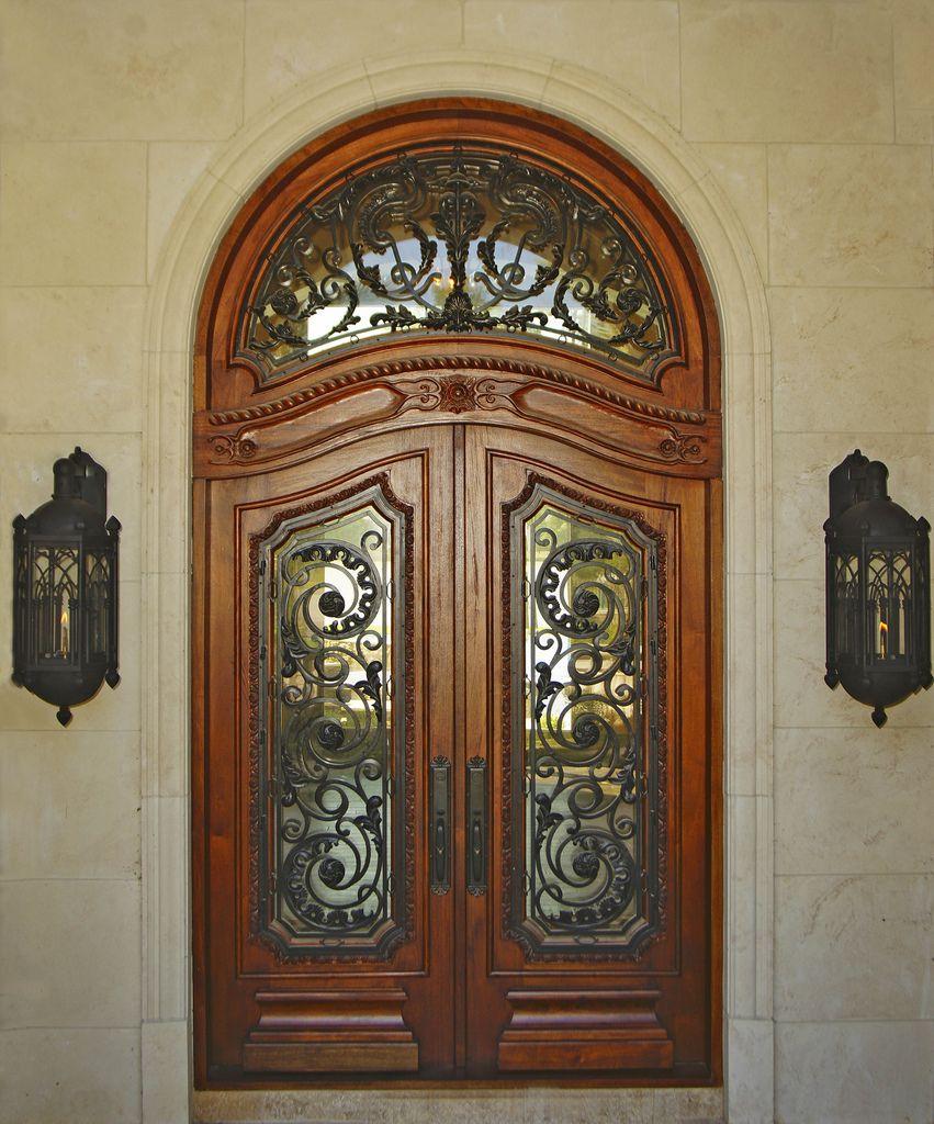 Mediterranean Style Front Doors: Borano Moliterno Solid Mahogany Double Door With Iron