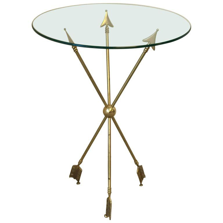 1960s Maison Jansen Br Arrow Side Table With Gl Top From A Unique Collection Of