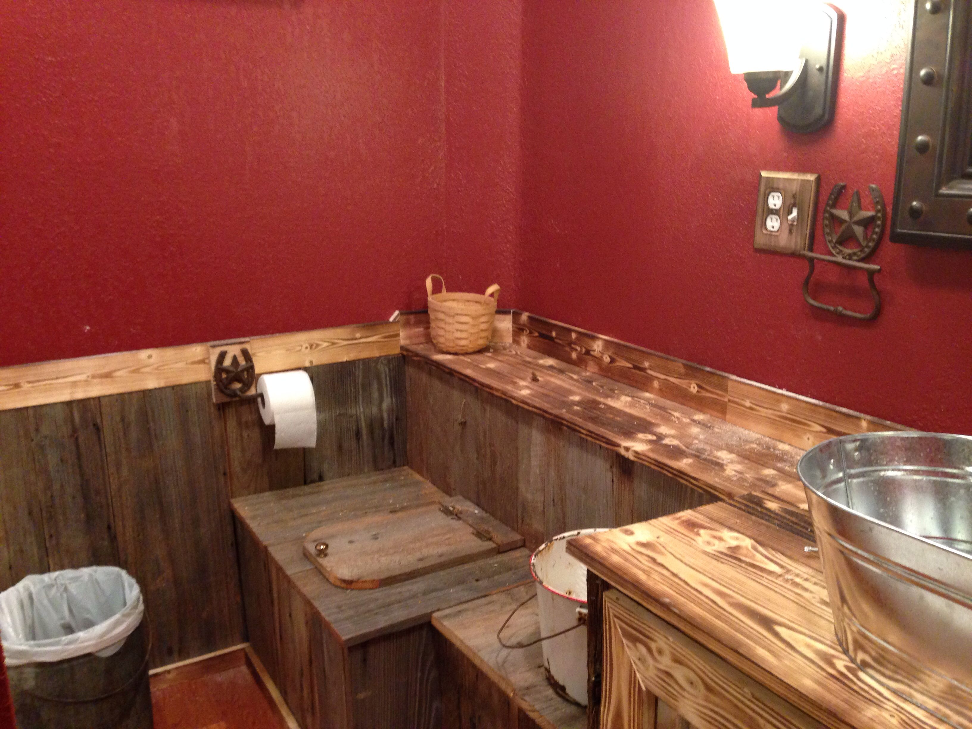 Our Rustic Bathroom. The Paint Is Cabin Red Valspar From Lowes. We Put In