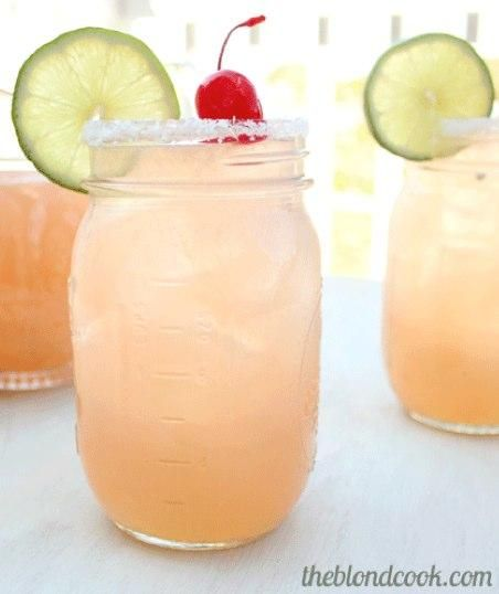 Cherry Beer Margarita: 1 12 ounce can frozen limeade concentrate, 12 ounces cherry flavored soda, 1 12 ounce bottle of your favorite beer (suggestion: Corona Light), 12 ounces of your favorite tequila, kosher salt for rimming glass, lime for garnish, and cherries for garnish.