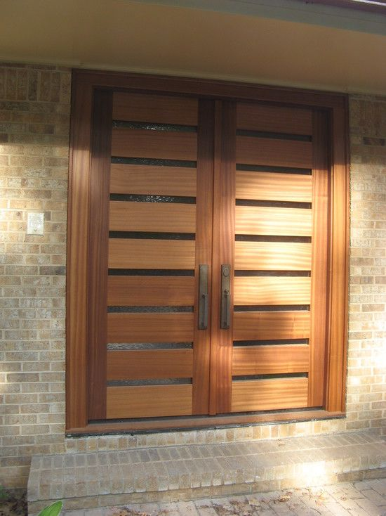 Natural Contemporary Wood Double Doors Entry Doors With Glass