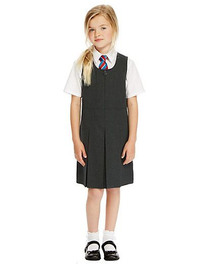 17e14fe82 Girls' Traditional Pinafore with Permanent Pleats with Triple Action
