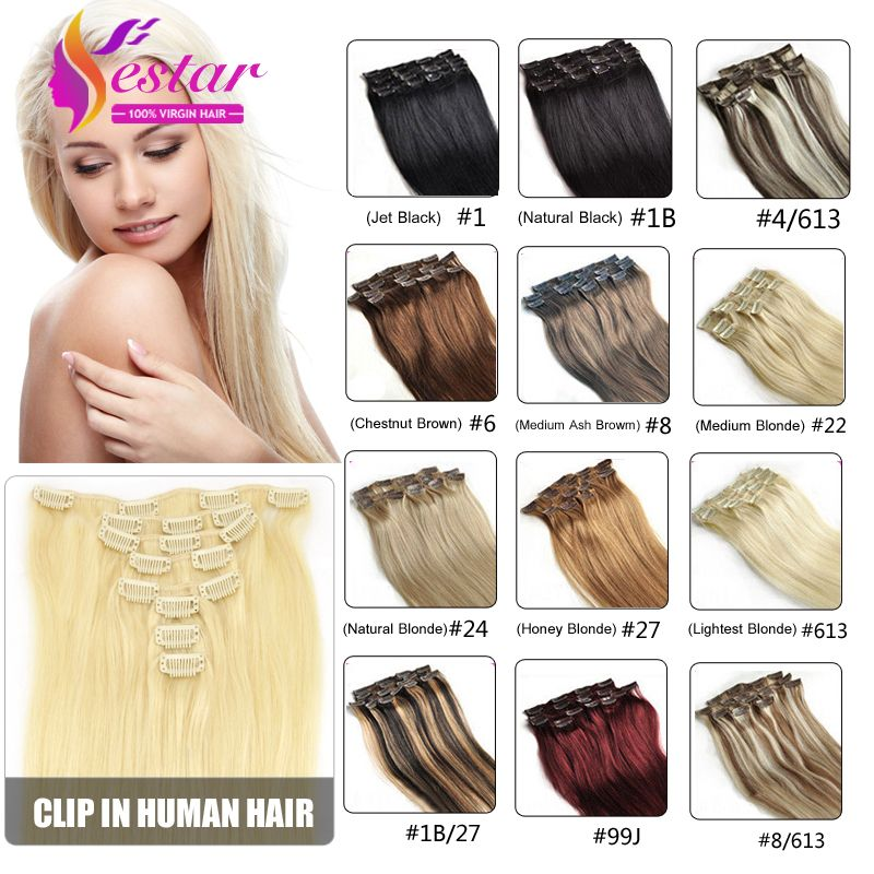 Clip In Human Hair Extensions Remy Virgin Brazilian Hair Clip In