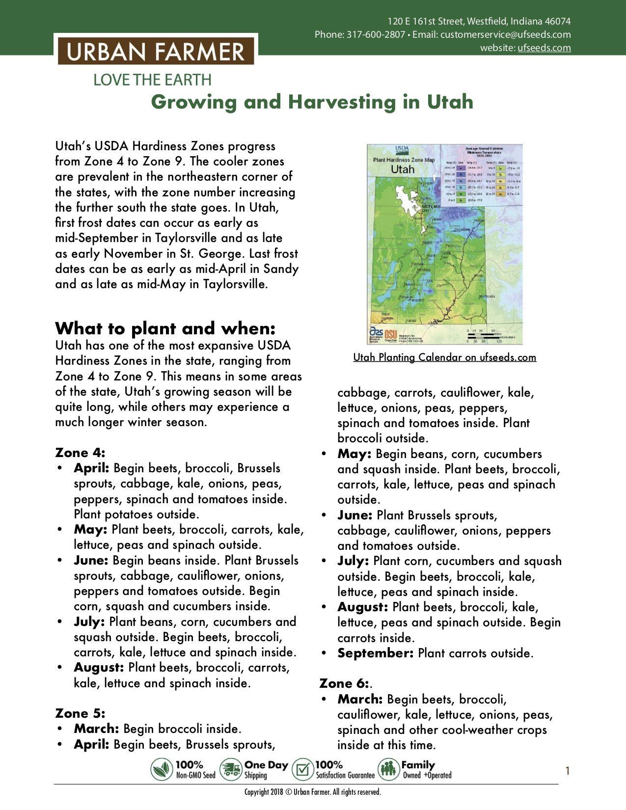 Utah Vegetable Planting Calendar