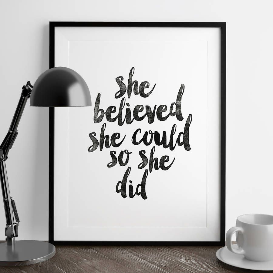 She believed she couldu typography print typography art