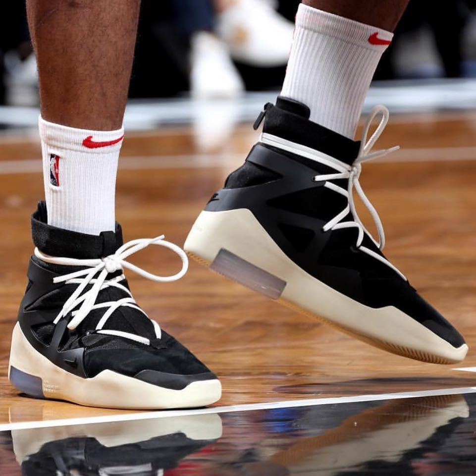 sale retailer 9eefe 390b0 Another shot of the Nike Air Fear Of God 1 on the NBA Court. PJ Tucker  laced up the black white pair against the Brooklyn Nets. For more…