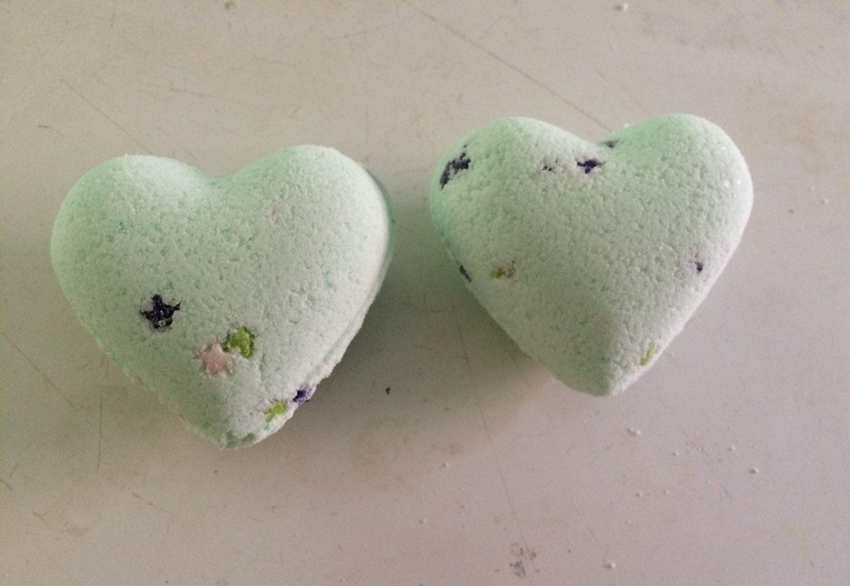 Two Heart Shaped Eucalyptus Bath Bombs-Handmade by HollysAbstractArt on Etsy
