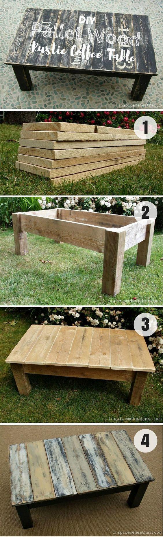 DIY pallet wood rustic coffee table, pallet wood, pallet ...