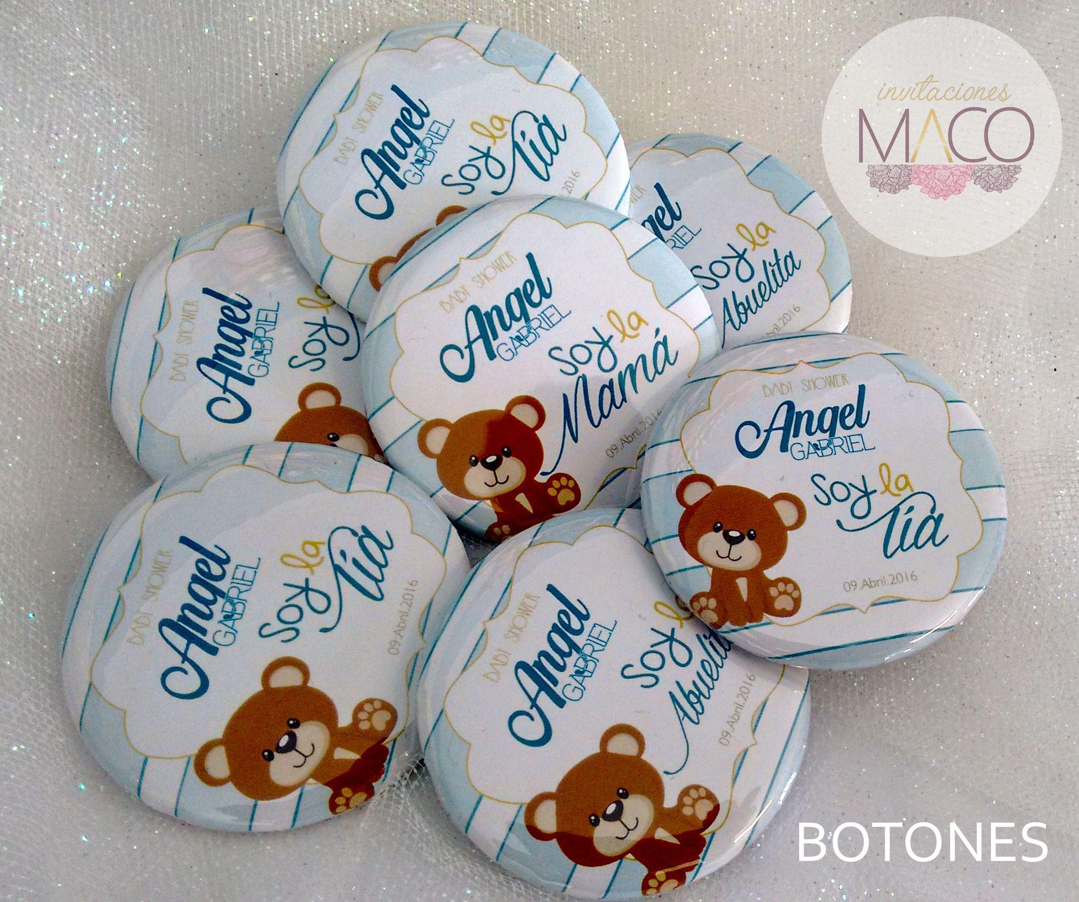 Baby Shower Distintivos ~ Botones distintivos con tema de ositos baby shower