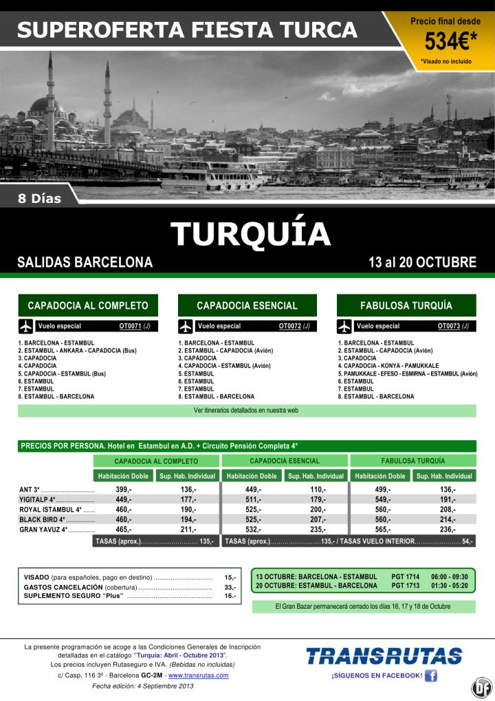 TURQUÍA / 8 días ¡¡Superoferta Fiesta Turca: 13 Octubre!! sal. Barcelona - http://zocotours.com/turquia-8-dias-superoferta-fiesta-turca-13-octubre-sal-barcelona/