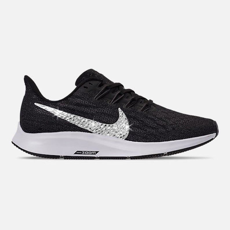Swarovski Women's Nike Air Zoom Pegasus 36 Black & White Sneakers Blinged Out With Clear Swarovski Crystals Custom Bling Nike Shoes