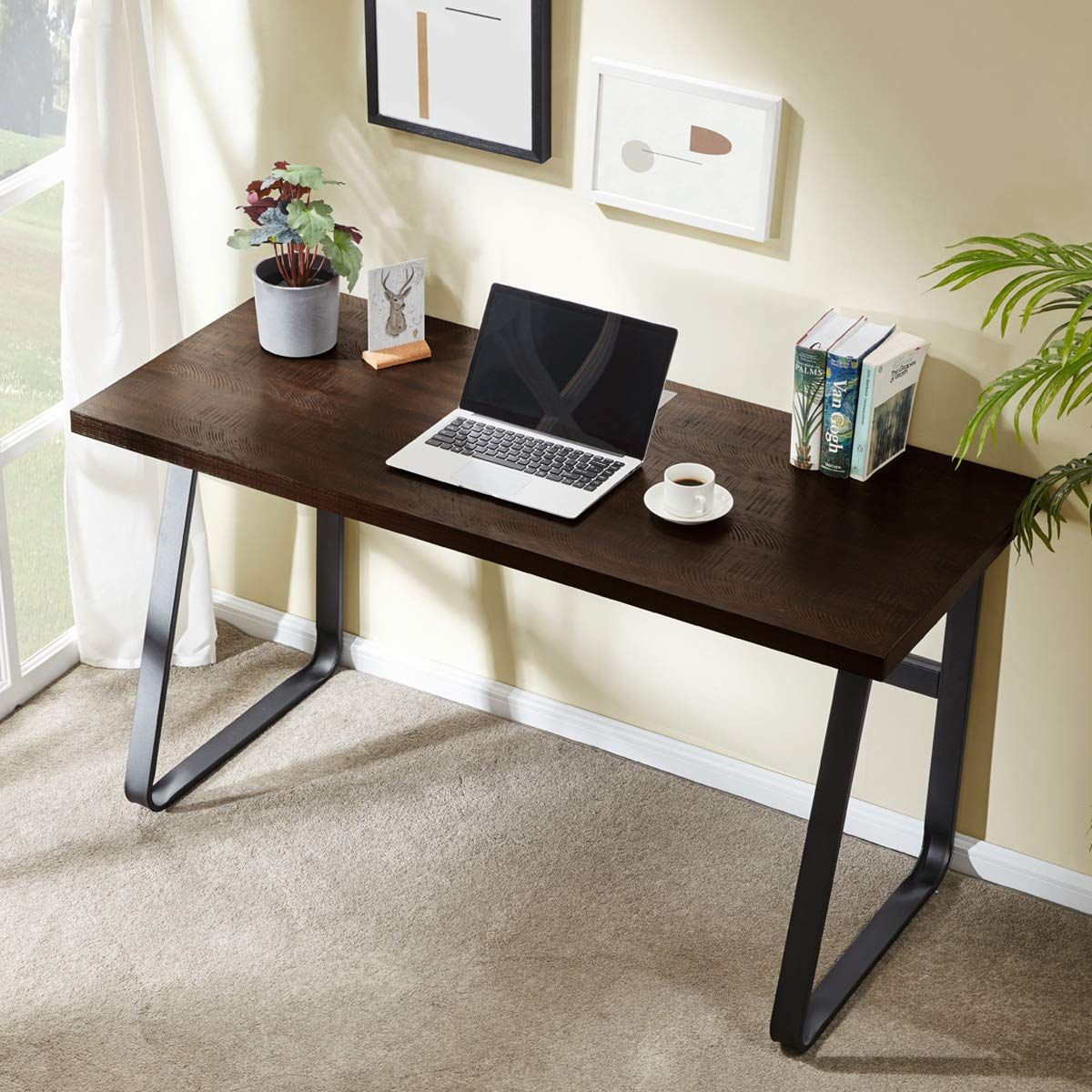 dyh vintage computer desk, wood and metal writing desk, pc
