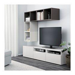 bestÅ / eket kastencombinatie voor tv, wit, hoogglans/wit - wit ... - Ikea Wohnzimmer Braun