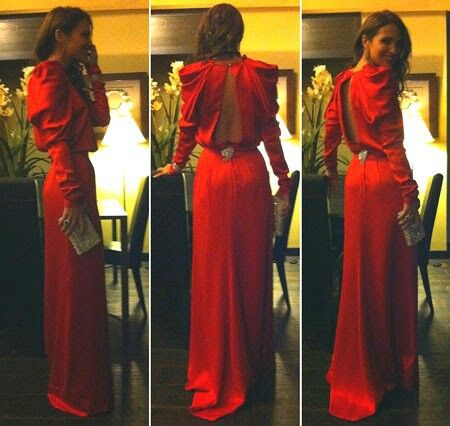 Vestidos de fiesta rojos con manga