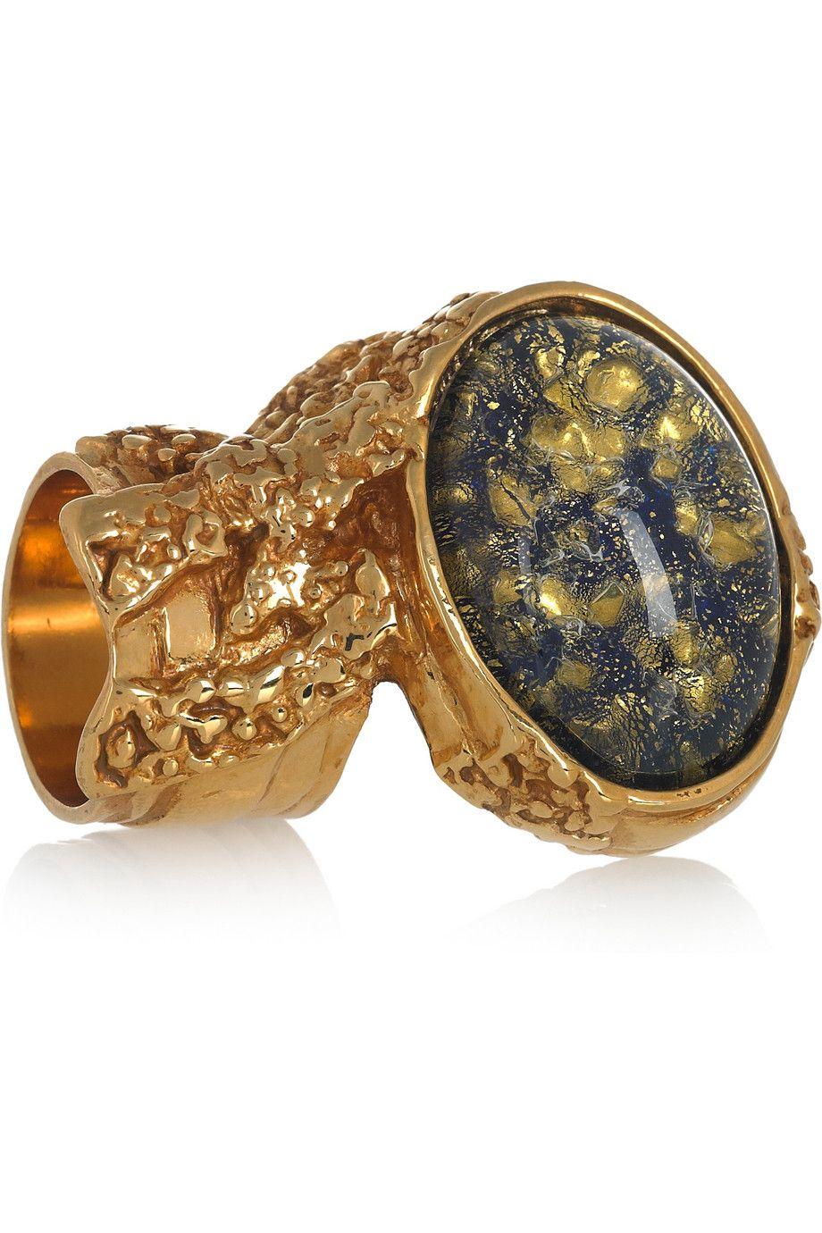 Yves Saint Laurent Arty gold-plated glass ring NET-A-PORTER.COM $290