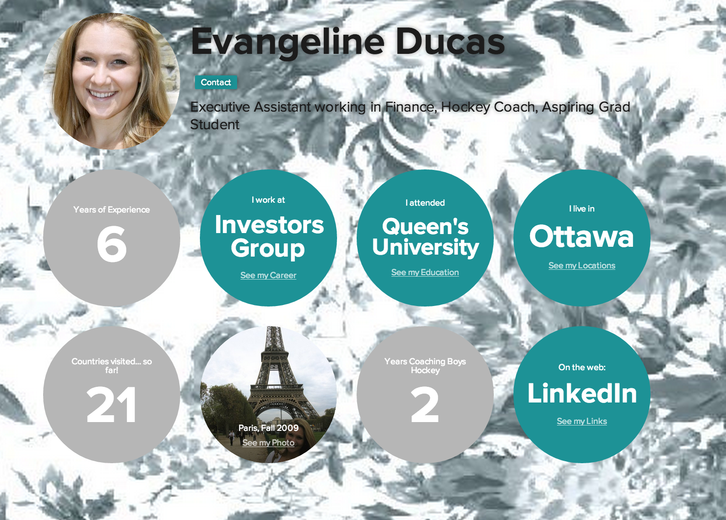 Evangeline's interactive infographic resume Interactive