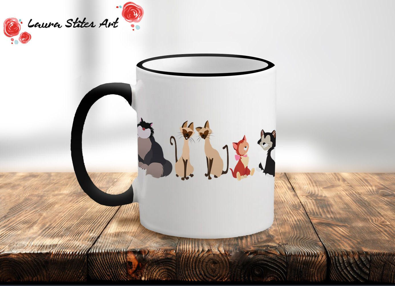 d2687517a4f The Cats of Disney Mug - minimalist cats meow dinah cheshire aristocat  lucifer cinderella gift disney
