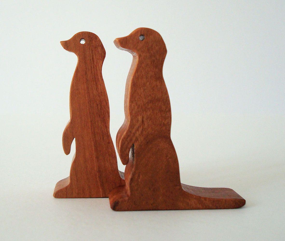 wood toy meerkat pair miniature noah's ark animals zoo play