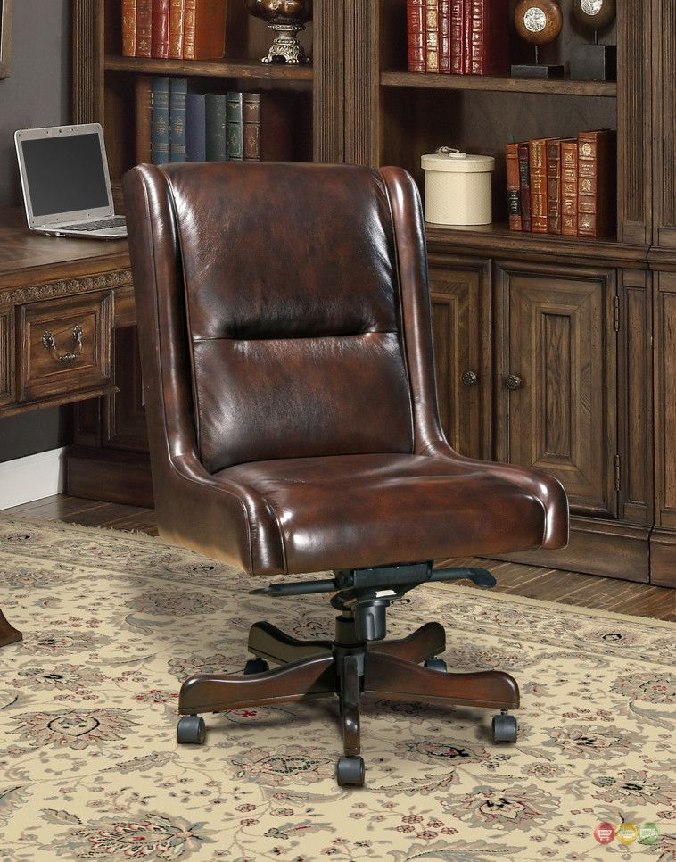 distressed leather desk chair hanging for bedroom ireland brown top grain executive with height back armless office chairs also swivel
