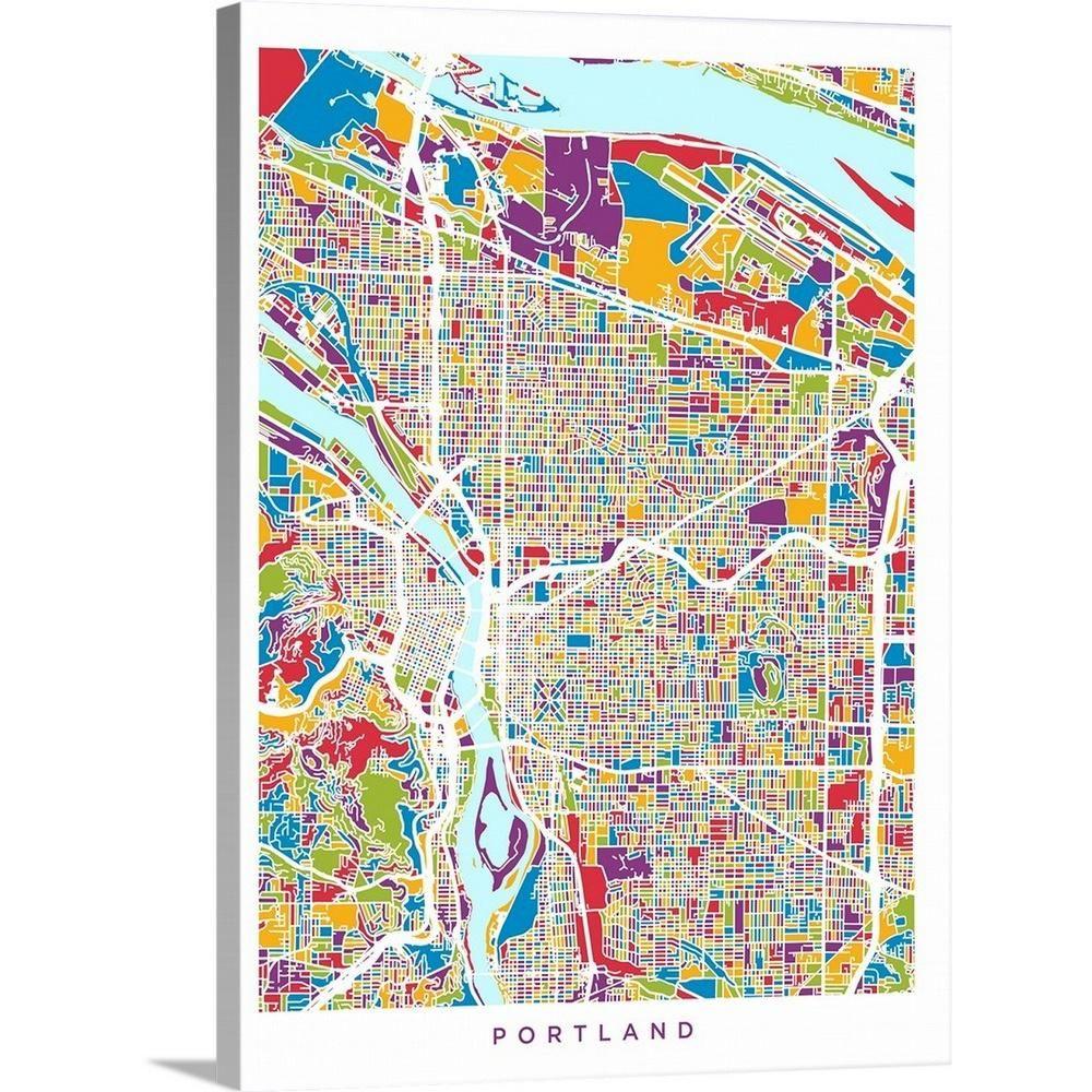 portland oregon street map Greatbigcanvas Portland Oregon City Map By Michael Tompsett portland oregon street map