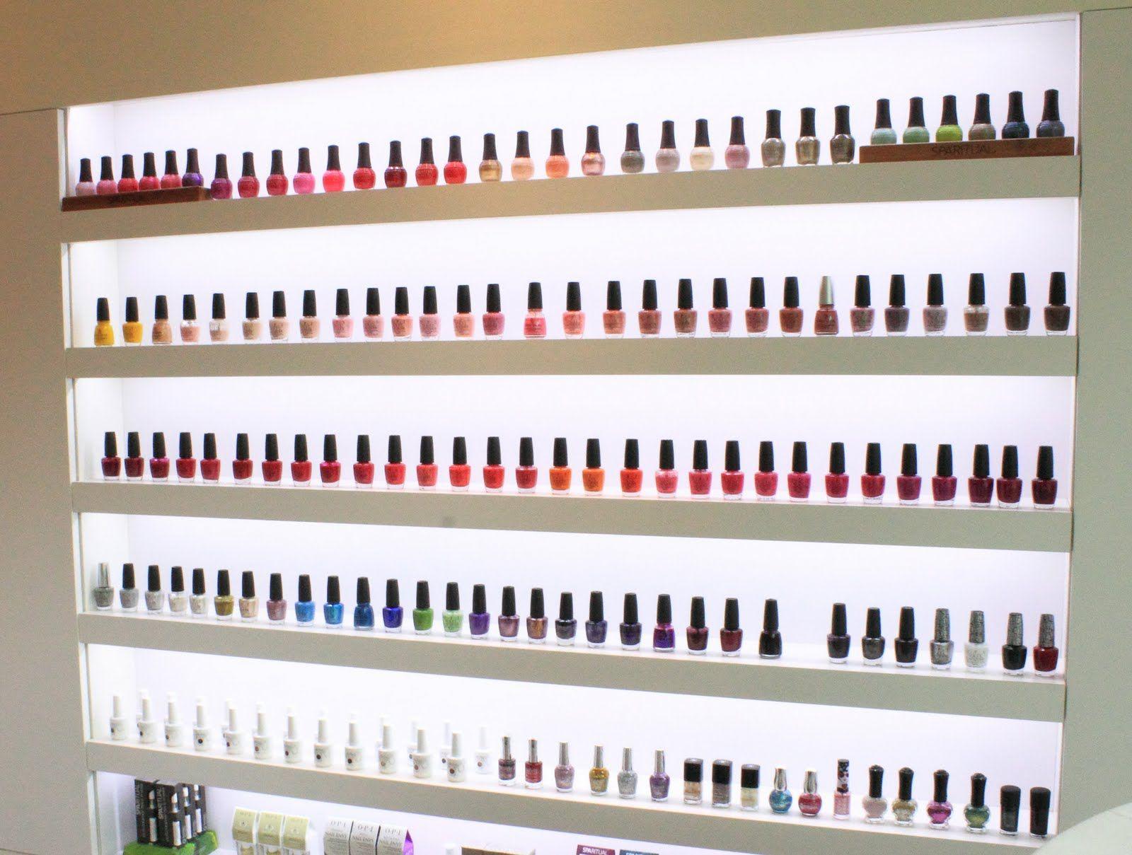 backlit nail polish display