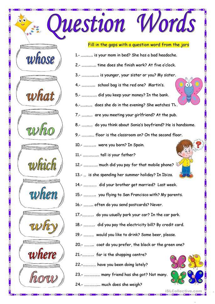 QUESTION WORDS worksheet - Free ESL printable worksheets ...