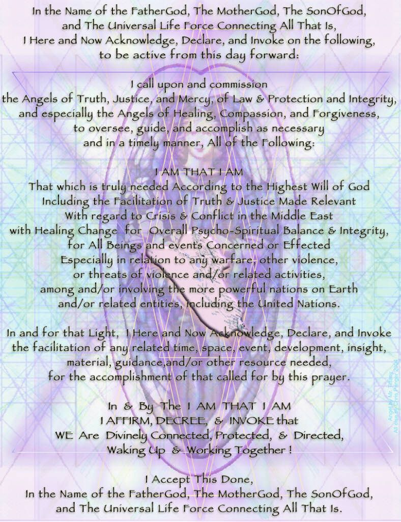 Middle East / Iraq Healing Prayer with Archangel Michael On Sacred Geometry Background