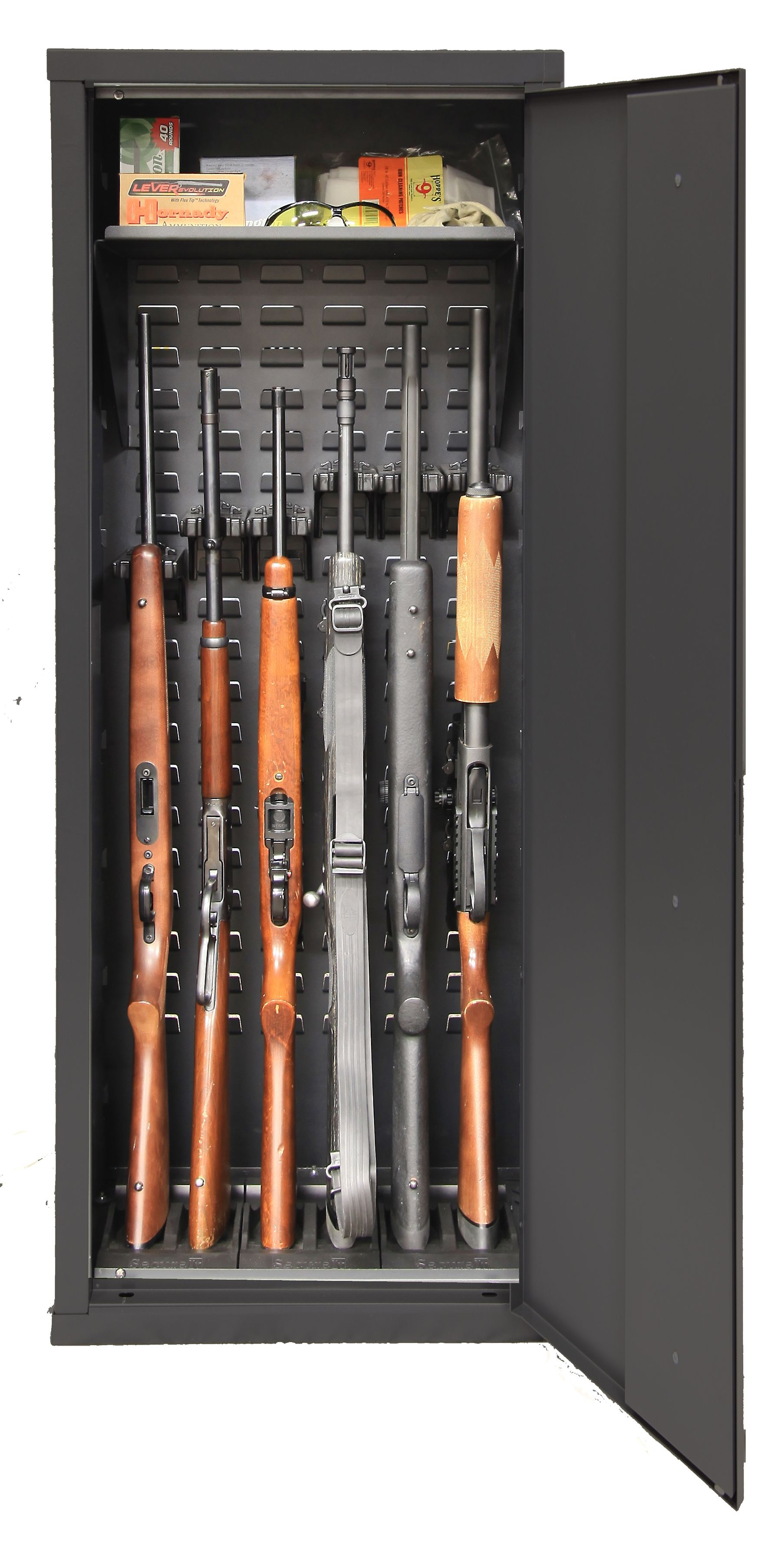 The SecureIt Model 52 Gun Cabinet can hold up to 6 firearms and is