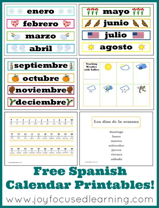 Free Spanish Calendar Time Printables With Images Learning