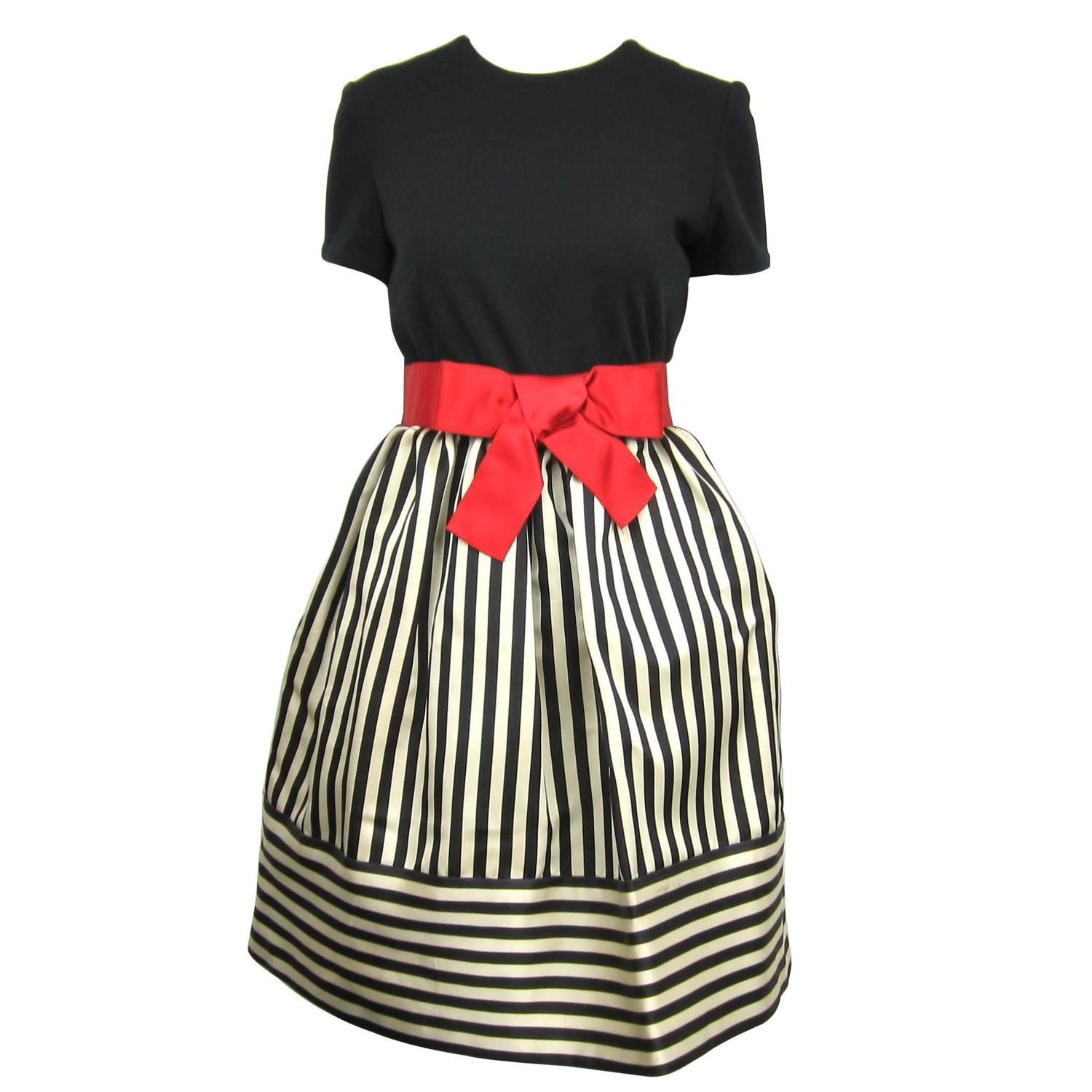 Black and red striped babydoll dress