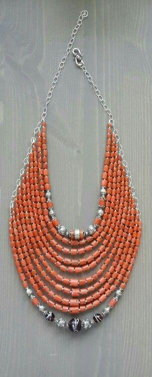 4280a0fdbebc Collar piedras tonos naranja