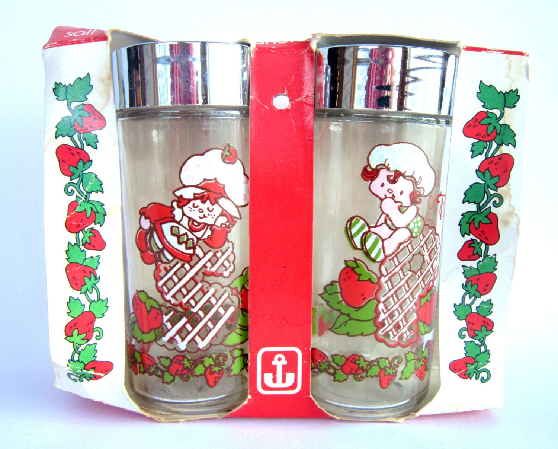 Vintage Glass Strawberry Shortcake Salt And Pepper Shakers